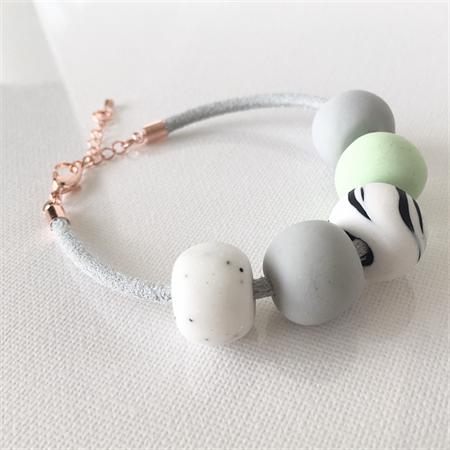MARBLEOUS - Grey + White + Mint Marble Bracelet